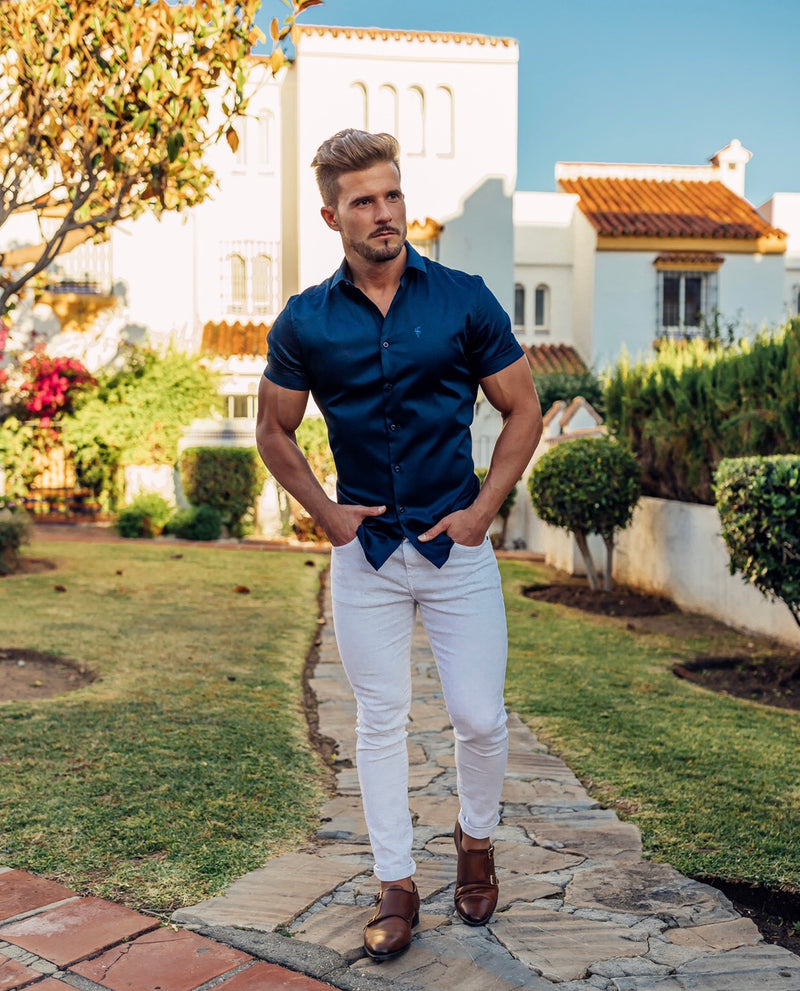 Father Sons Slim Sateen Classic Navy Short Sleeve - FS548