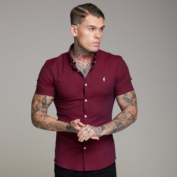 Father Sons Super Slim Stretch Classic Oxford Burgundy Short Sleeve - FS363