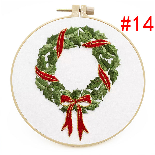🎁Christmas Embroidery Starter DIY Kit with Pattern(8in/20cm)🎄