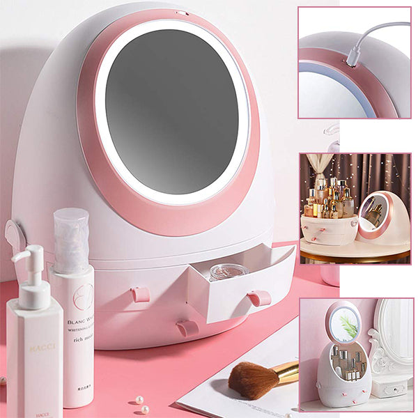 Rotatable Makeup Organizer with Led Lighted Mirror(3 Drawers)