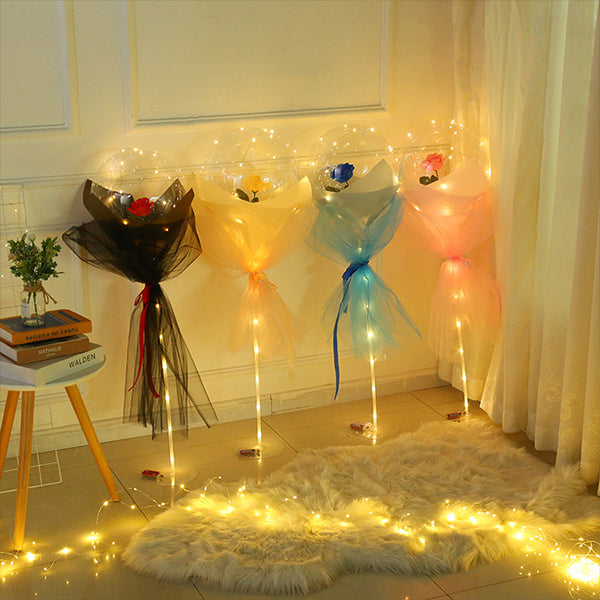 🌹(Best Valentine's Day Gift )🌹LED Luminous Balloon Rose Bouquet