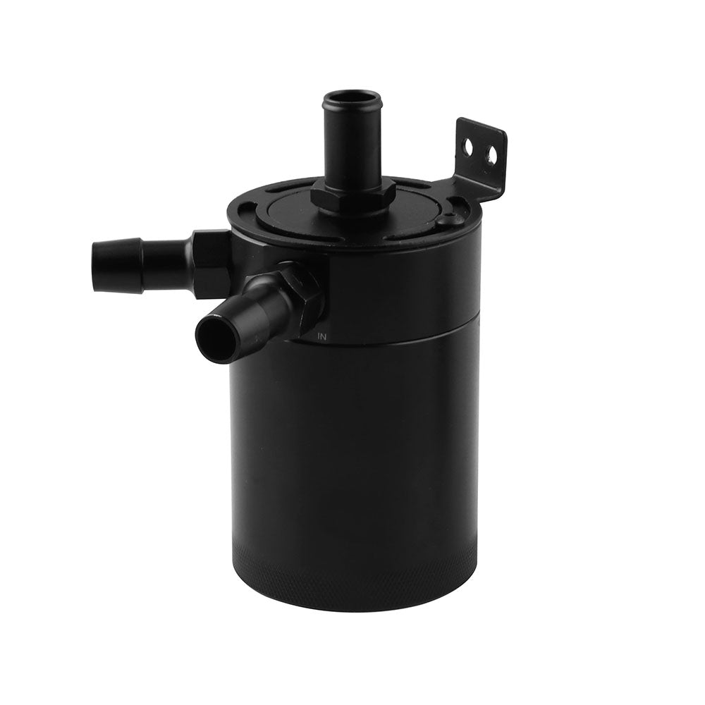 2-Port Baffled Oil Catch Can With Breather Aluminum Universal Reservoir Tank