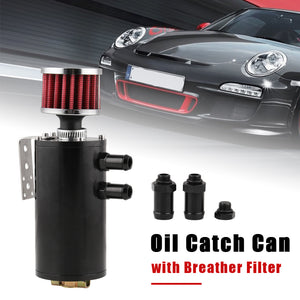 Oil Catch Tank Reservoir Can 2-Port With Breather Drain Valve Aluminum Universal