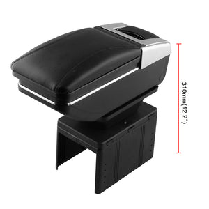 PU Leather Armrest Box Universal Car Center Console Storage Case Container Black