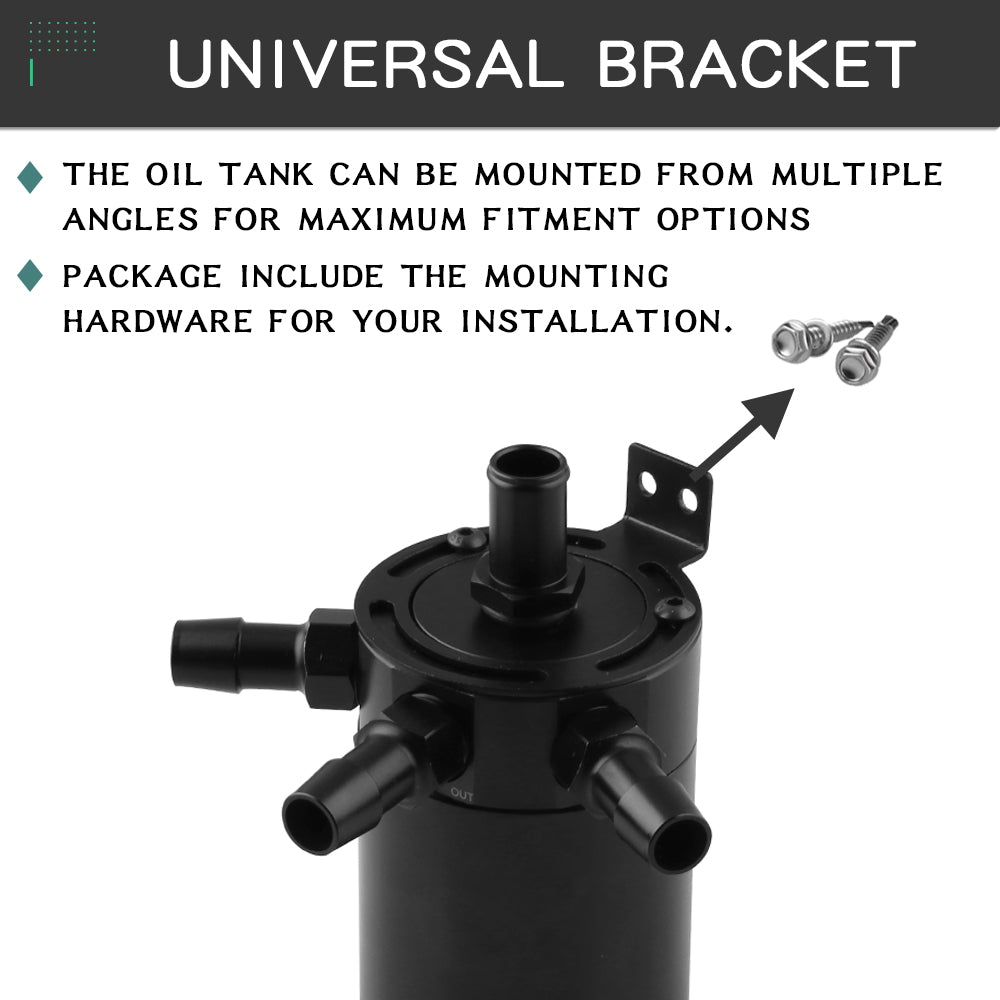 Universal Oil Catch Can Tank Reservoir 3 Port Breather Filter Baffled Aluminum
