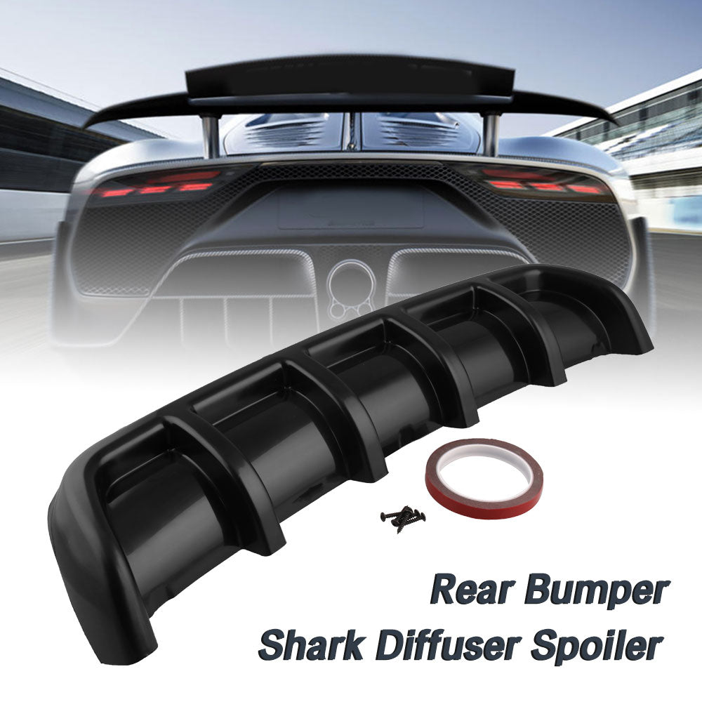 "26""x5"" ABS Rear Shark 6 Fin Curved Bumper Lip Diffuser Kit Universal Black"