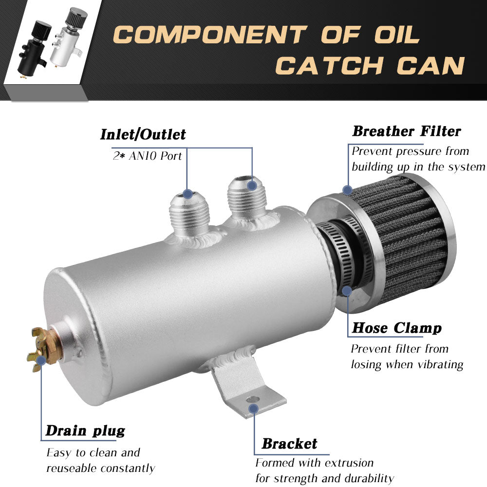 Oil Catch Can Tank with Air Filter 0.75L AN10 Aluminium Baffled Reservoir
