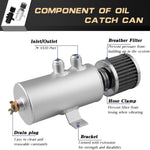 Load image into Gallery viewer, Oil Catch Can Tank with Air Filter 0.75L AN10 Aluminium Baffled Reservoir