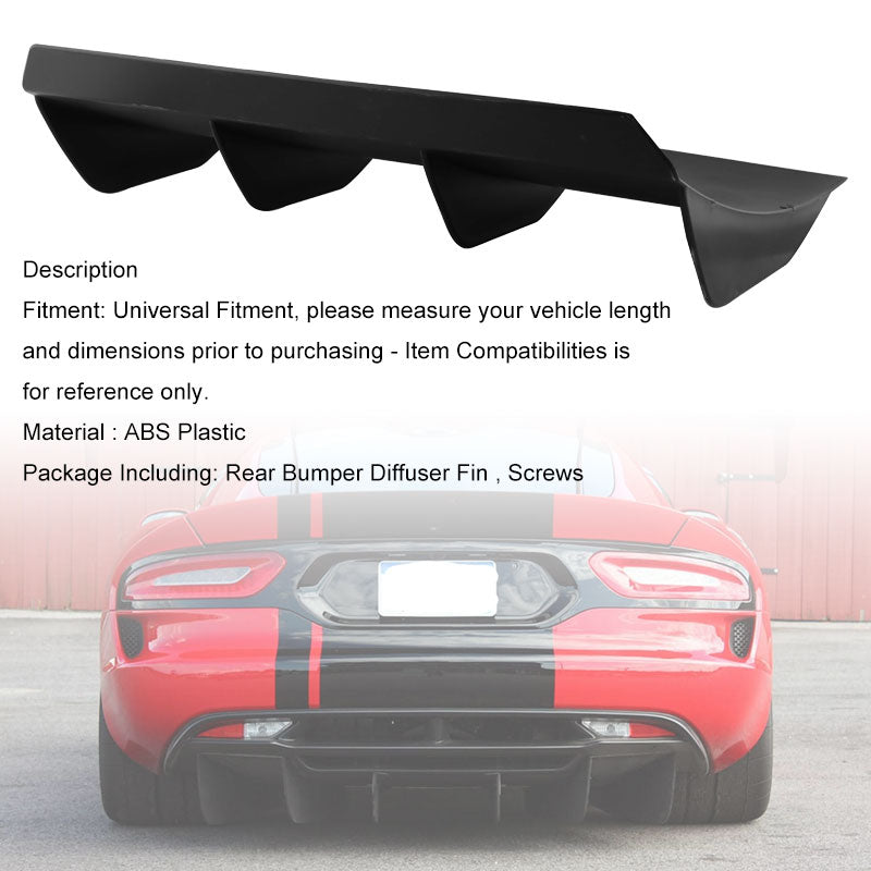 "21"" x 12"" Rear Bumper 4 Fins Curved Diffuser Fin For Dodge Challenger ABS"