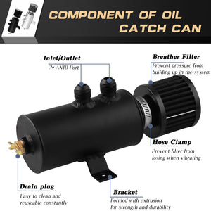 10AN Oil Catch Can Tank Reservoir With Breather Filter Baffled Aluminium
