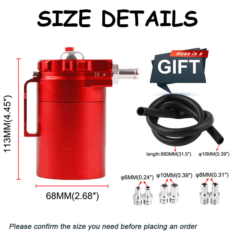 Oil Catch Can Reservoir Tank with Breather 350ml Baffled Universal Aluminum