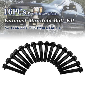 16Pcs Diesel Exhaust Manifold Bolt Kit For 94-03 Ford F250 F350 7.3L Powerstroke