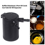 Load image into Gallery viewer, 2-Port Oil Catch Can Tank Baffled Separtor Racing Aluminum Universal Black