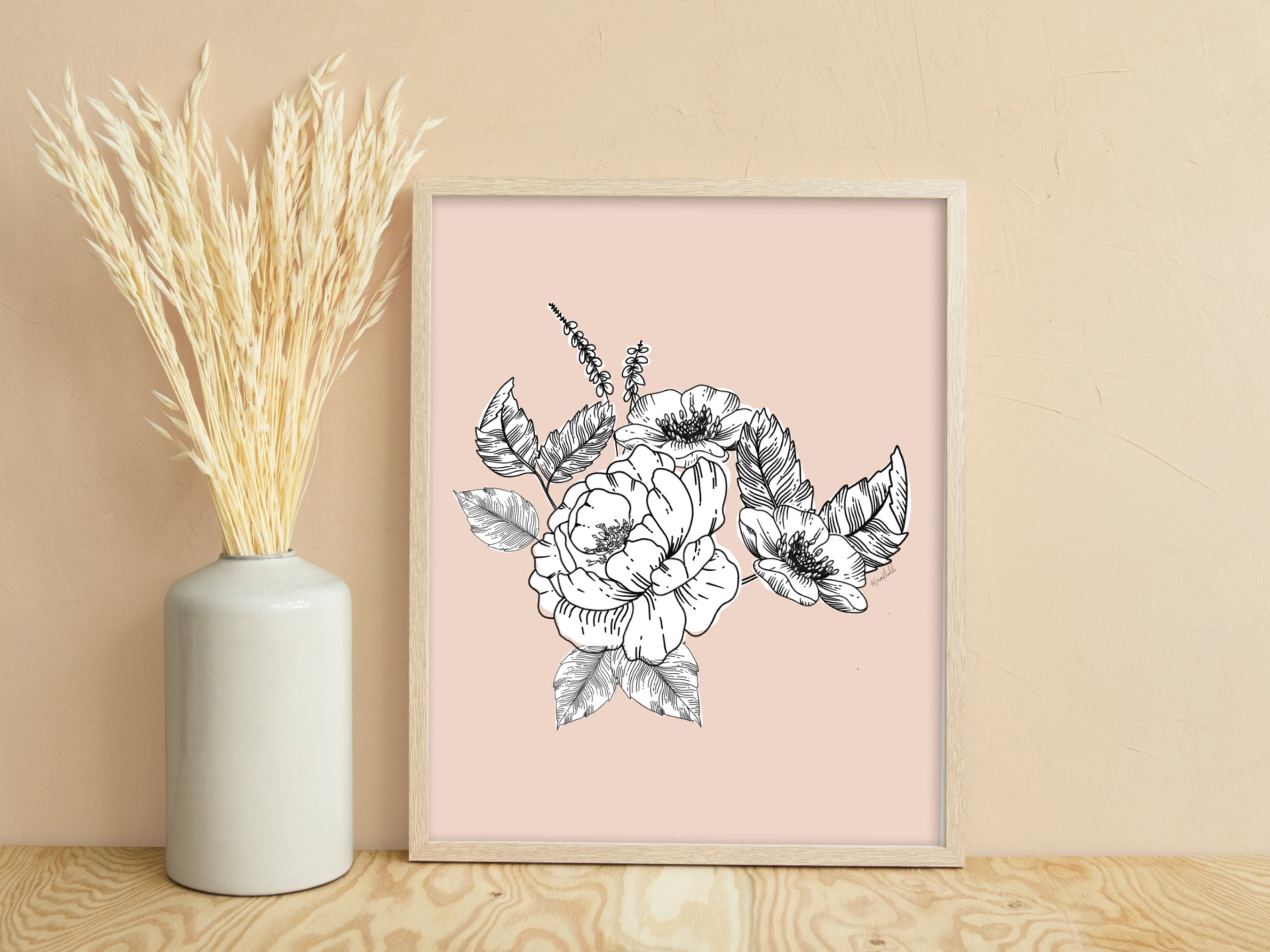 Peony & Wildflowers - Ink Botanicals Collection