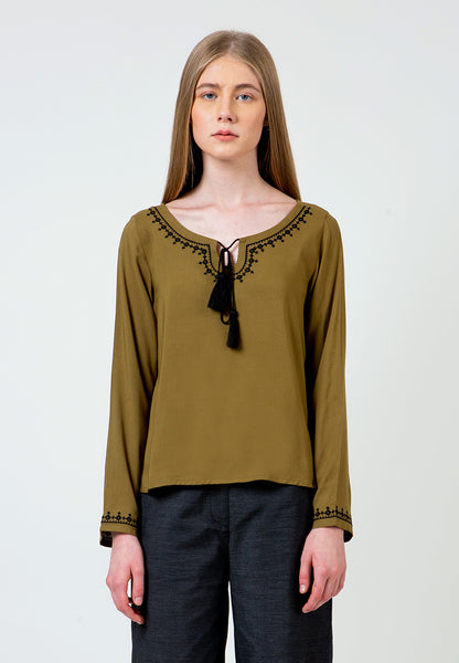 Olive Embroidered Tassel Blouse