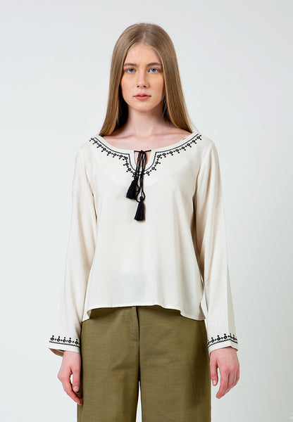 Acru Embroidered Tassel Blouse