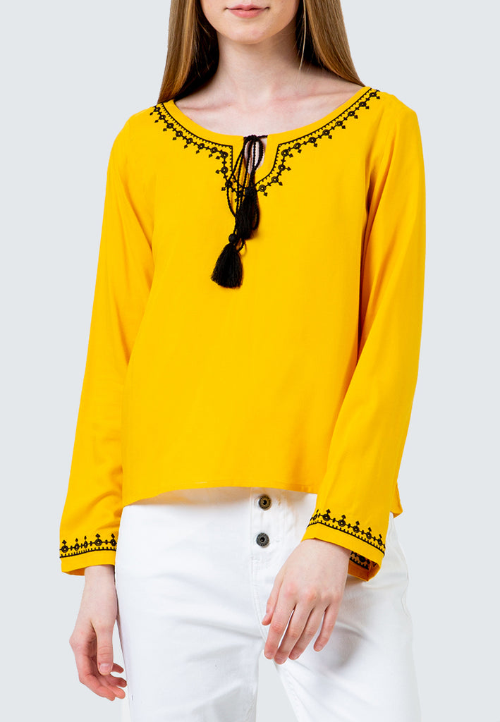 Yellow Embroidered Tassel Blouse