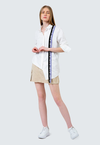 Oversized Shirt with Twill Tape Detail