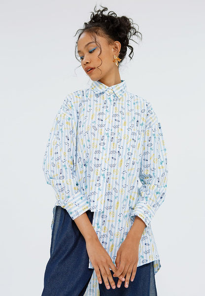 All Over Print Asymmetric Blouse