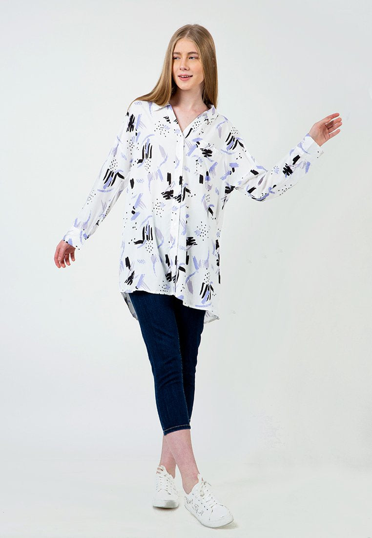 Printed Long Loose Shirt