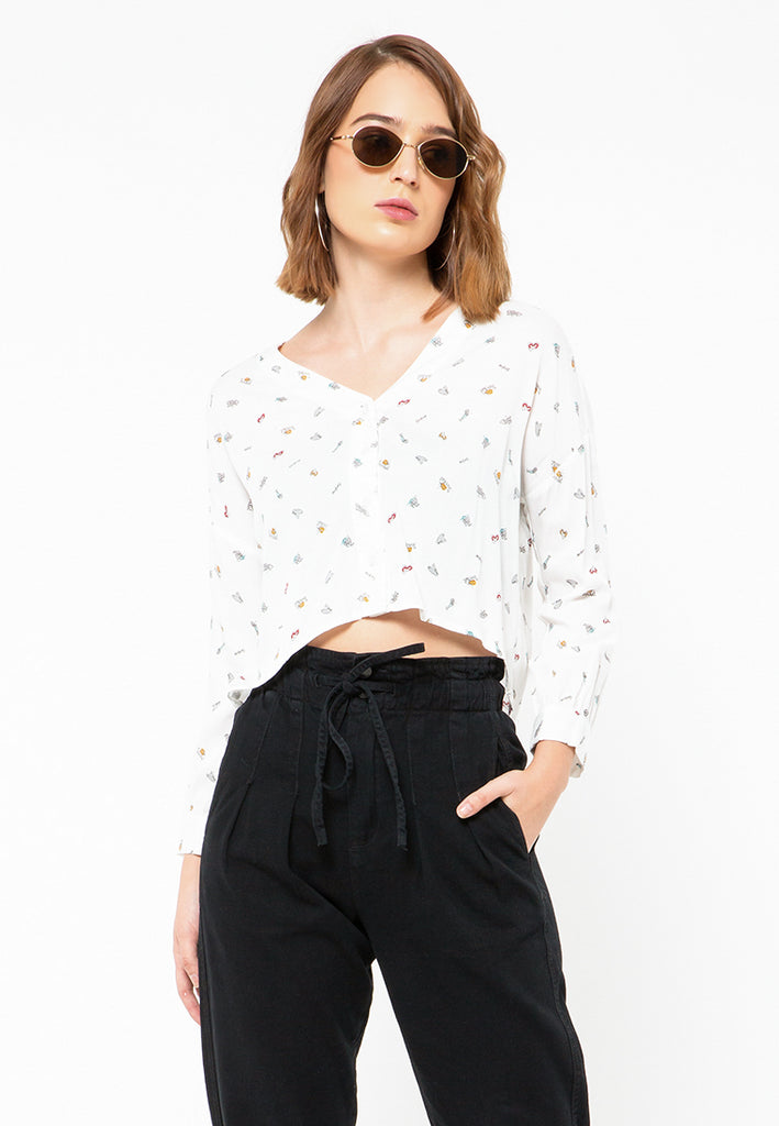 Loose Blouse with Buttons