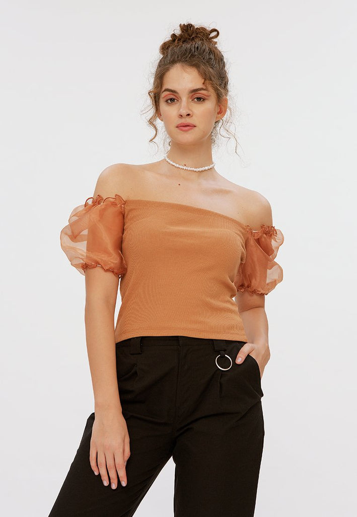 Two Fabric Balloon Sleeve Blouse