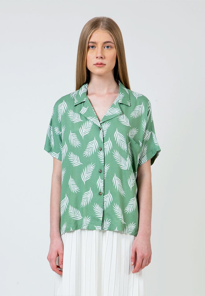 Turquois Printed Notch Collar Shirt