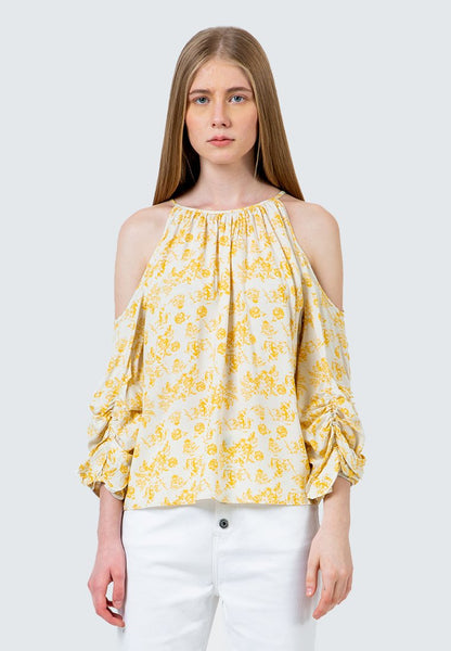 Cold Shoulder Printed Blouse