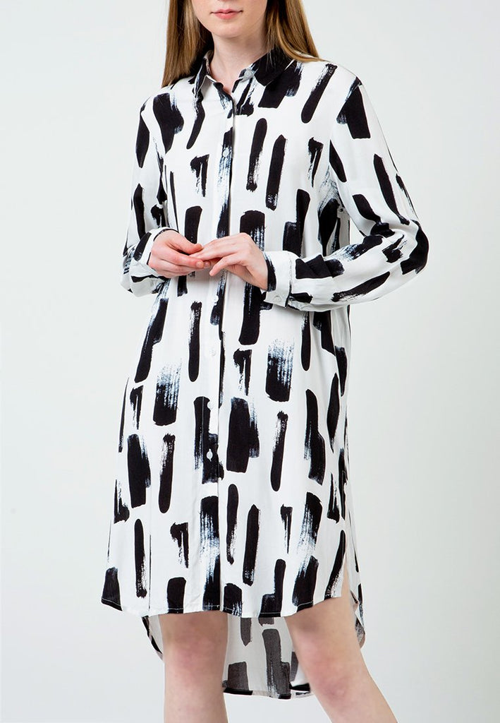 Abstract Print Shirt Dress