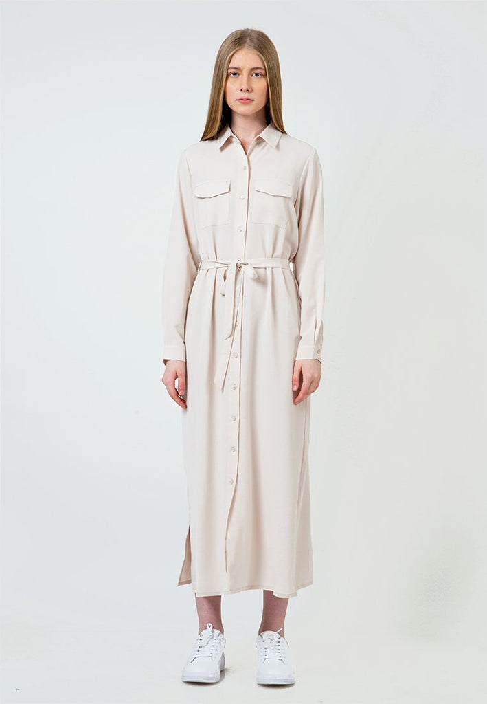 Beige Maxi Shirt Dress