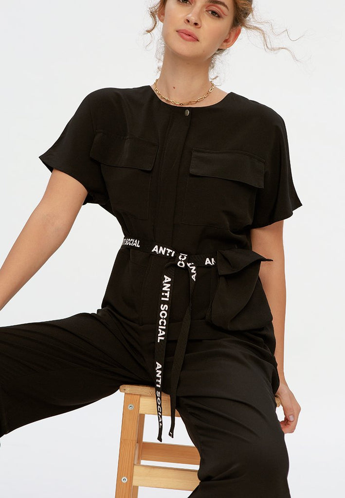 Belted Jumpsuit with Pocket