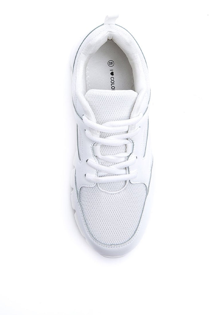White Sporty Shoes with Net Detail