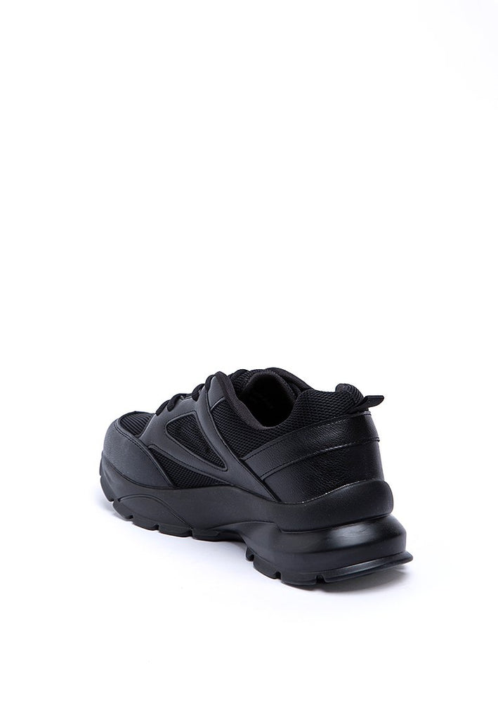 Black Sporty Shoes with Net Detail