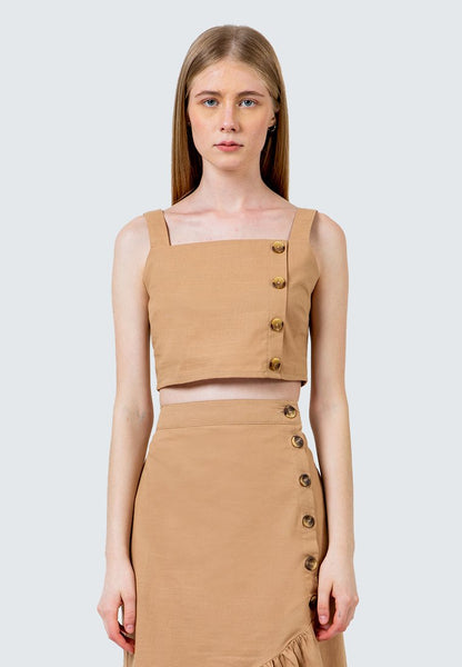 Horn Button Cropped Top