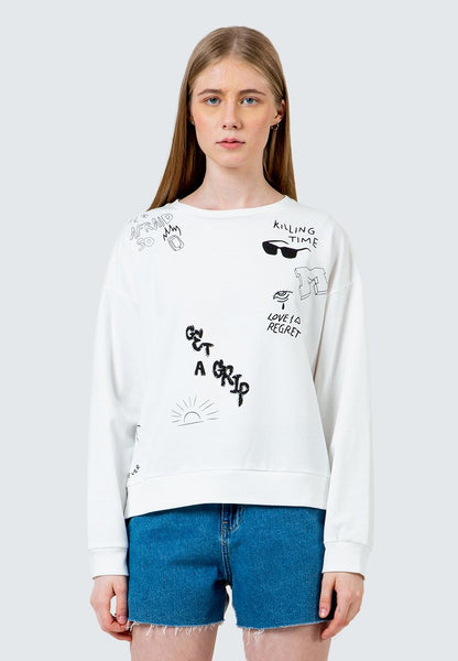 Embroidered Mixed Print Tropical Sweatshirt