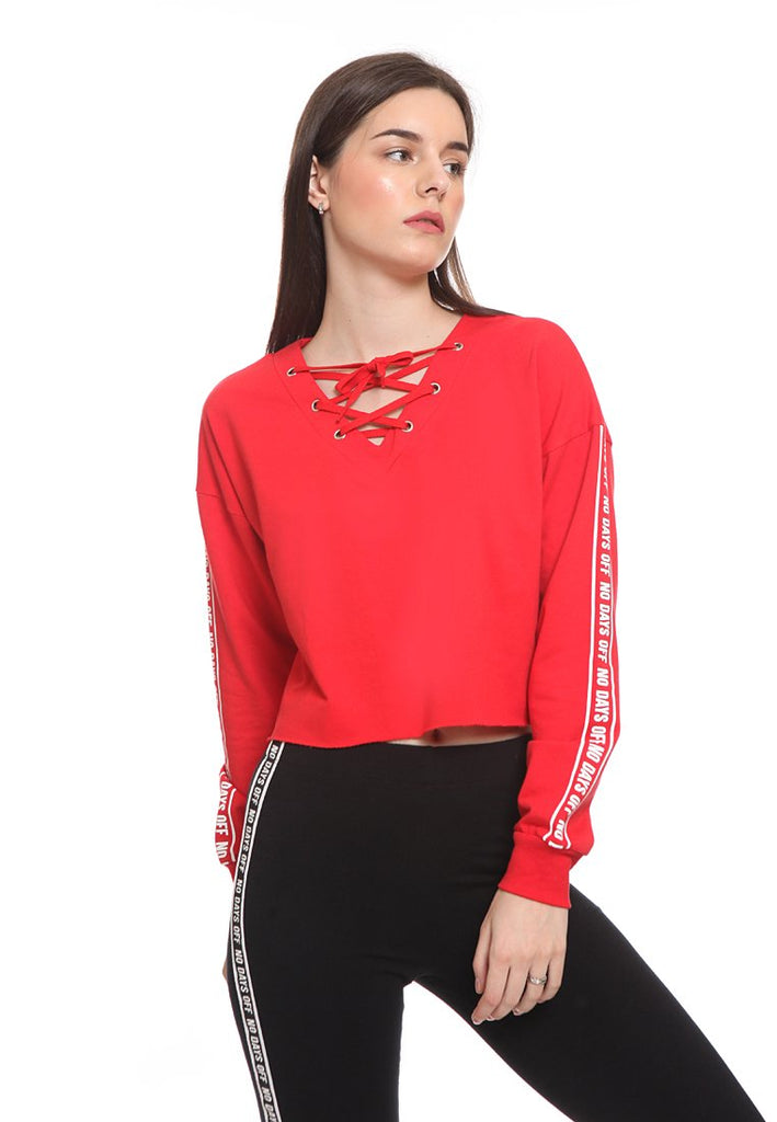 Lace Crop Sweatshirt