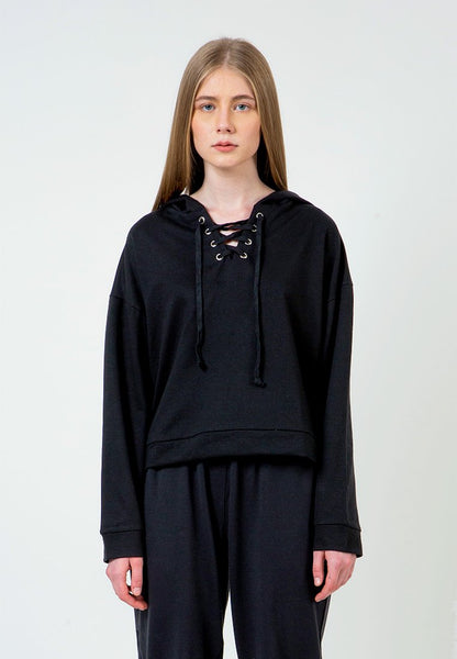 Black Hoodie with lacing