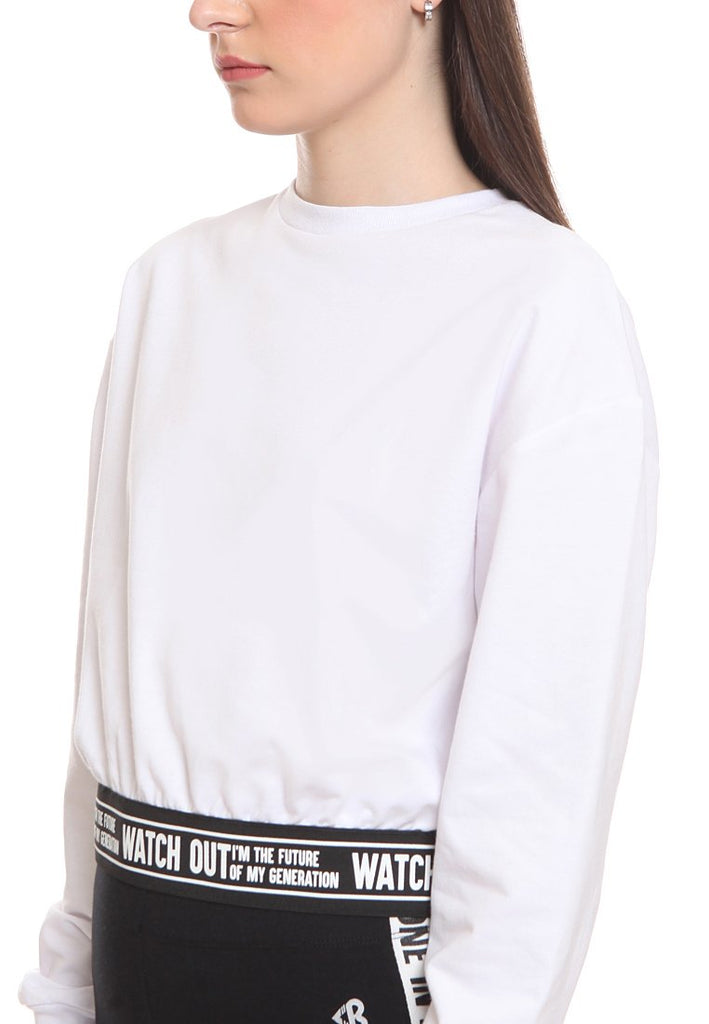 Crop Sweatshirt With Waistband