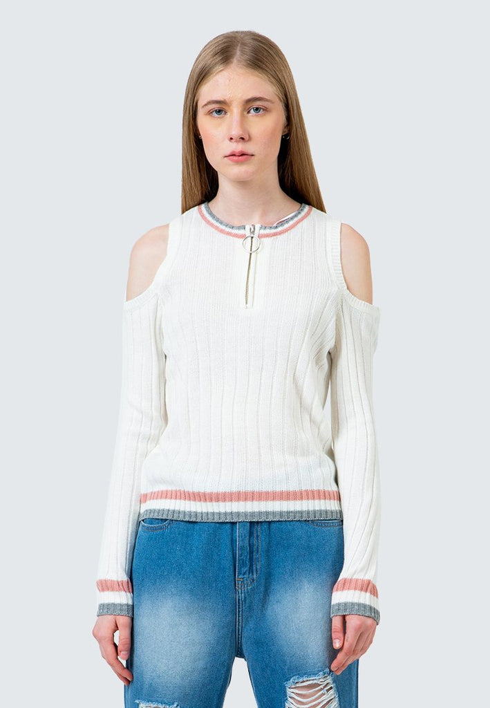 Cold Shoulder Crop Sweater