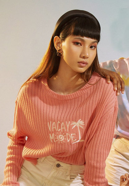 Asymmetric Sweater with Embroidery