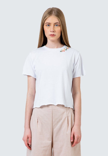 Off White Embroidery crop T-Shirt