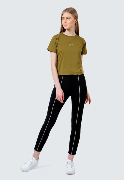 Olive Embroidery crop T-Shirt