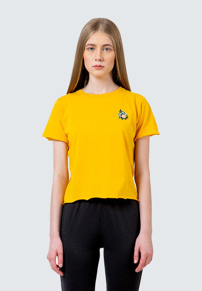 Yellow Embroidery crop T-Shirt