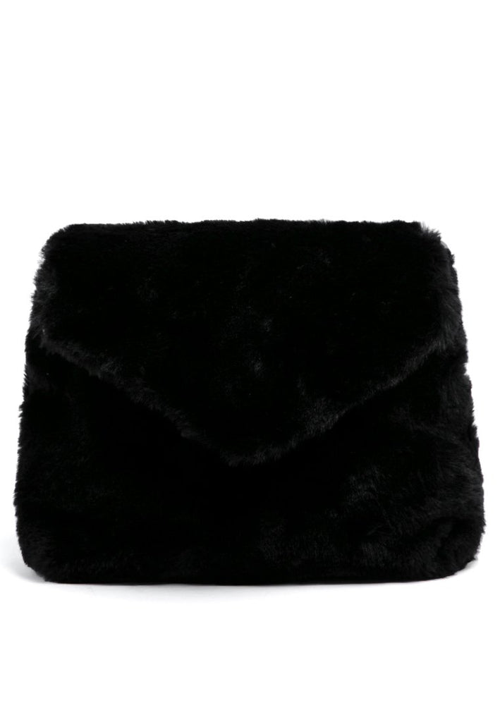 Black Fur Sling Bag