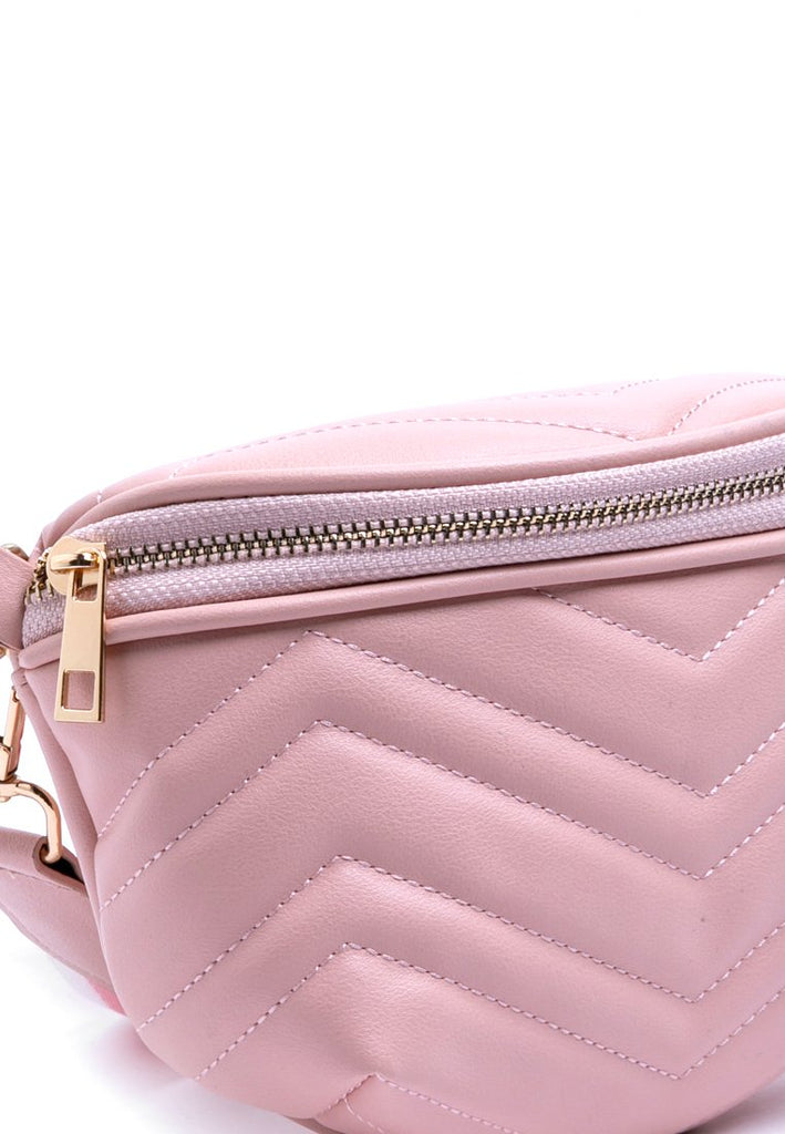 Quilted dusty pink sling bag
