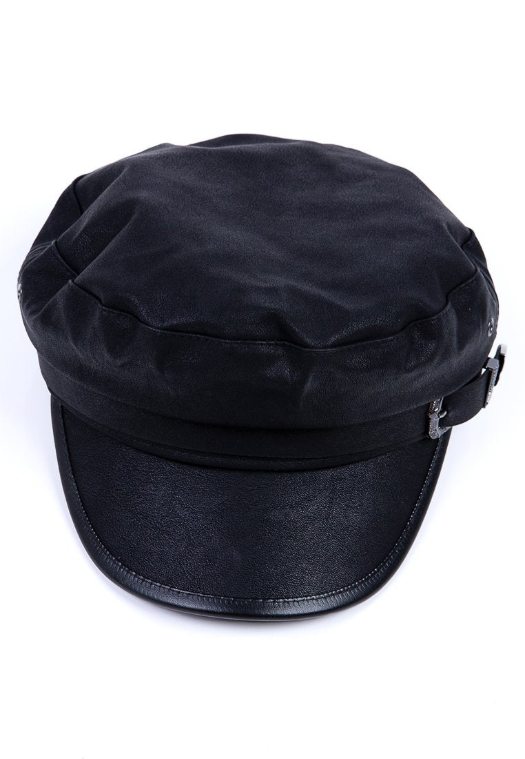Nautical Black Cap with Buckle Detail