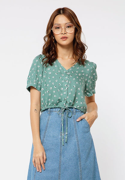 V neck Drawstring Blouse with Floral Print