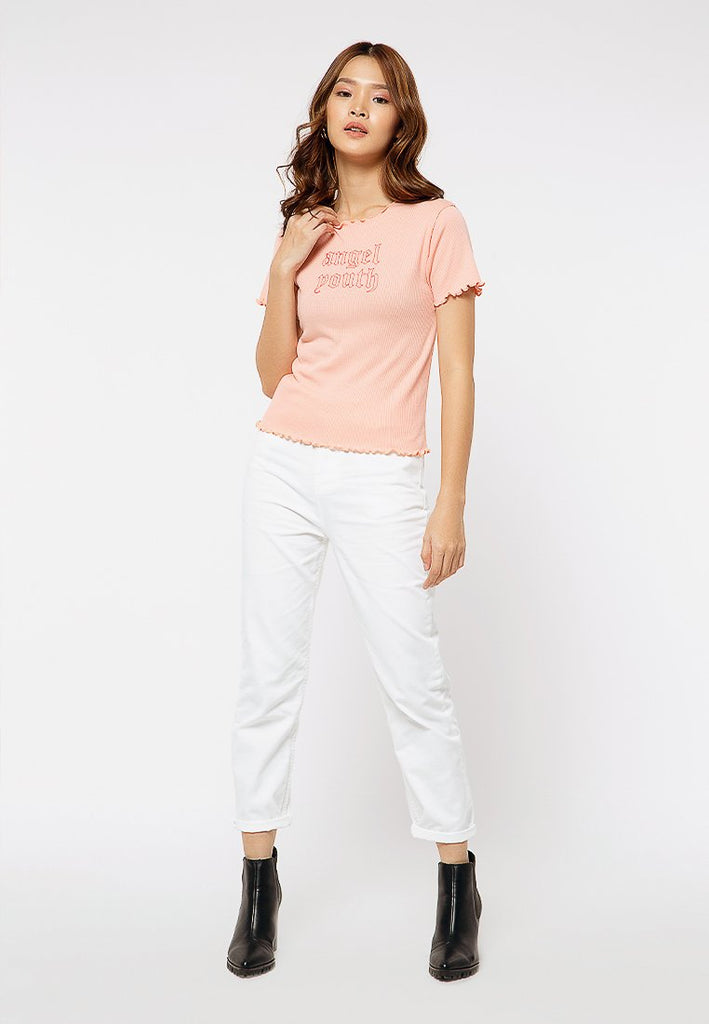 Rib Crop Printed T-shirt