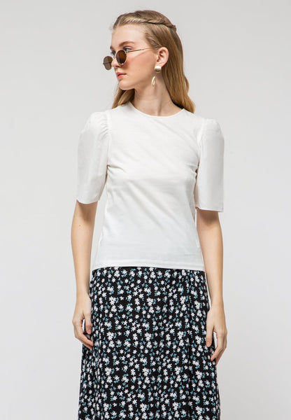 T-Shirt with Cotton Puff Sleeves