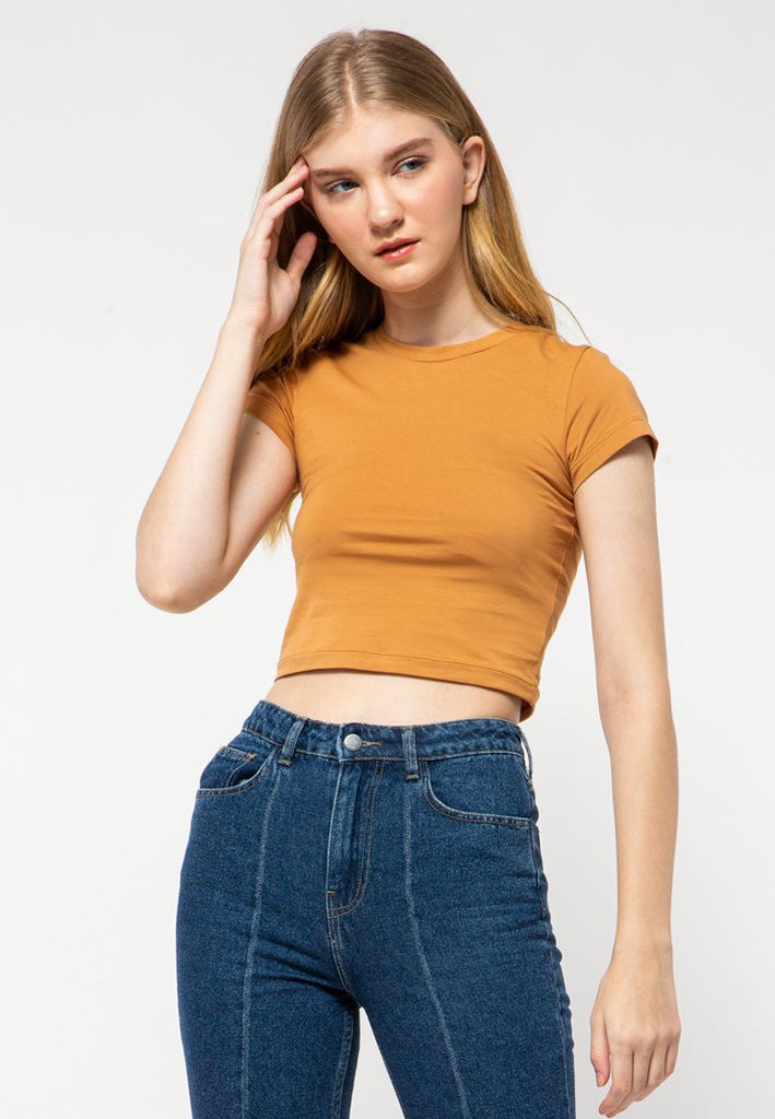 Fitted Crop Basic T-Shirt